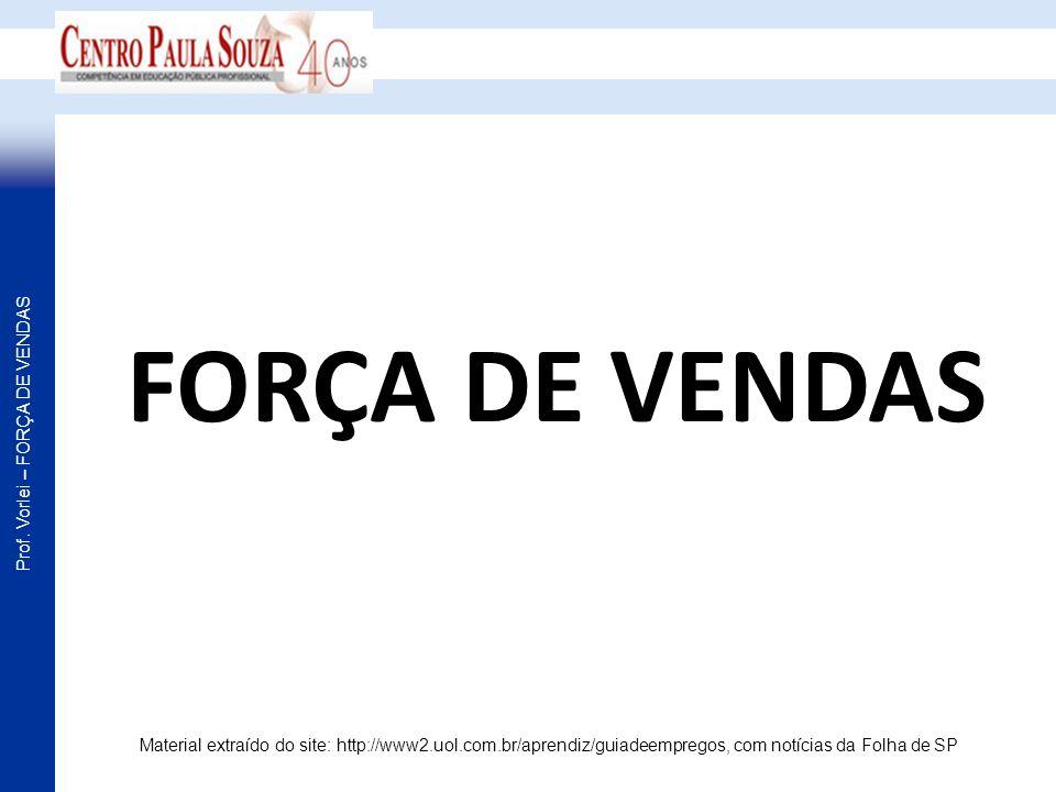Prof. Vorlei – FORÇA DE VENDAS FORÇA DE VENDAS Material extraído do site: http://www2.uol.com.br/aprendiz/guiadeempregos, com notícias da Folha de SP