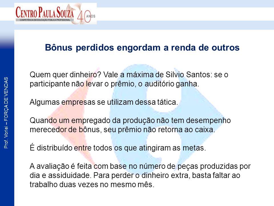 Prof. Vorlei – FORÇA DE VENDAS Quem quer dinheiro? Vale a máxima de Silvio Santos: se o participante não levar o prêmio, o auditório ganha. Algumas em