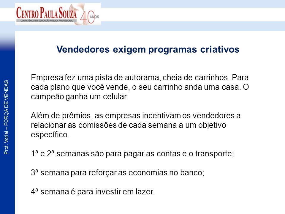Prof. Vorlei – FORÇA DE VENDAS Empresa fez uma pista de autorama, cheia de carrinhos. Para cada plano que você vende, o seu carrinho anda uma casa. O