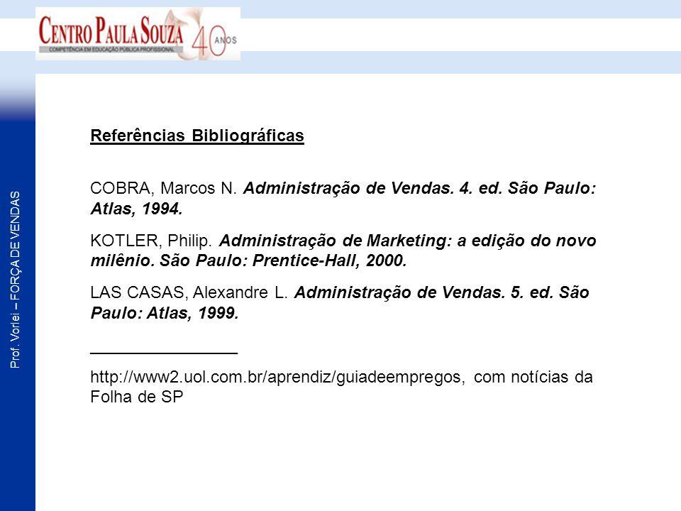 Prof. Vorlei – FORÇA DE VENDAS Referências Bibliográficas COBRA, Marcos N. Administração de Vendas. 4. ed. São Paulo: Atlas, 1994. KOTLER, Philip. Adm