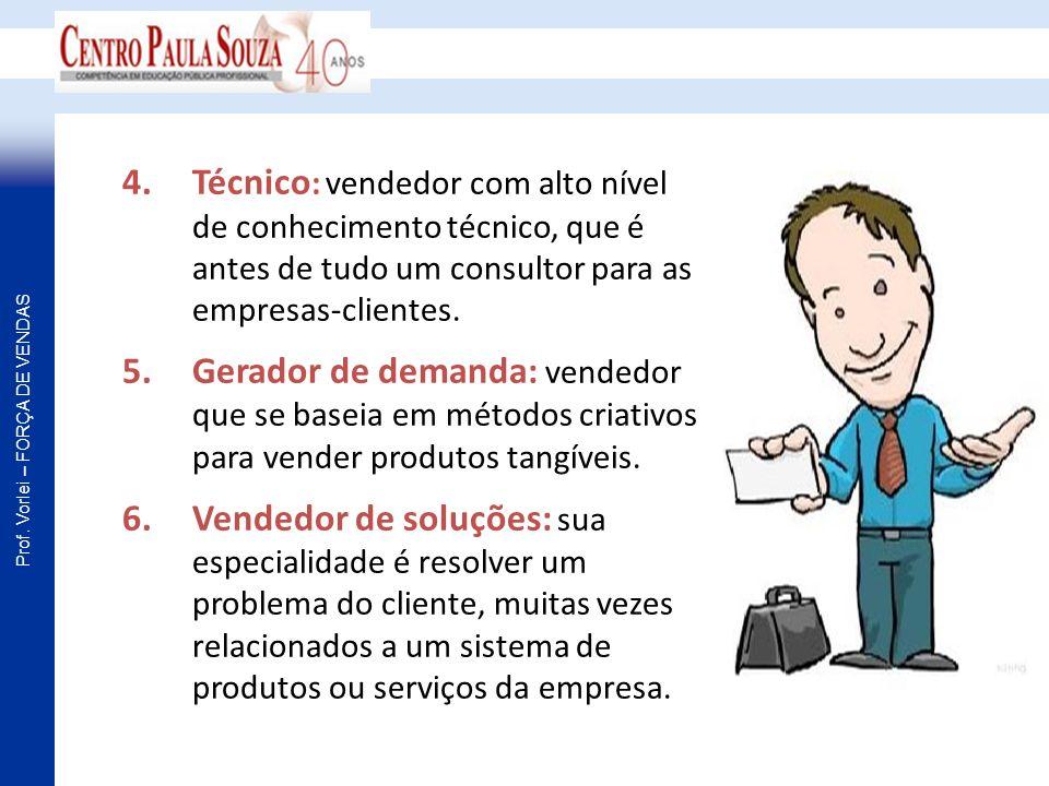 Prof. Vorlei – FORÇA DE VENDAS 4.Técnico : vendedor com alto nível de conhecimento técnico, que é antes de tudo um consultor para as empresas-clientes
