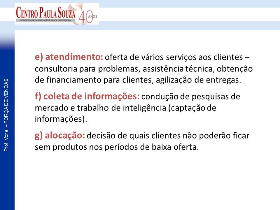 Prof. Vorlei – FORÇA DE VENDAS e) atendimento: oferta de vários serviços aos clientes – consultoria para problemas, assistência técnica, obtenção de f
