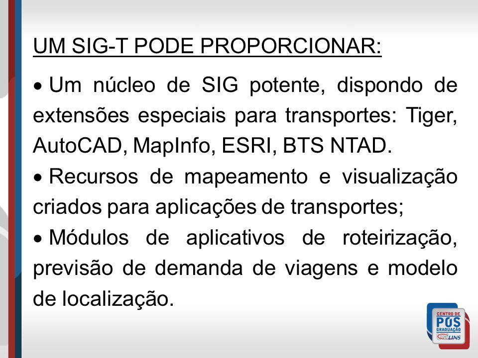 Um SIG-T pode combinar vantagens de um SIG comum com modelos aplicados aos transportes em uma mesma plataforma integrada, podendo proporcionar recursos não encontrados em outros pacotes.