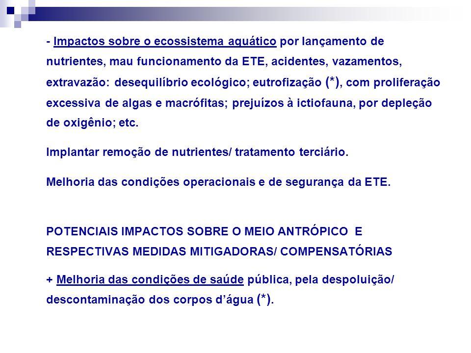 - Problemas de saúde pública, por mau funcionamento da ETE, acidentes, vazamentos, extravazão, produção de aerossóis patogênicos, atração/ procriação de vetores de doenças, etc.