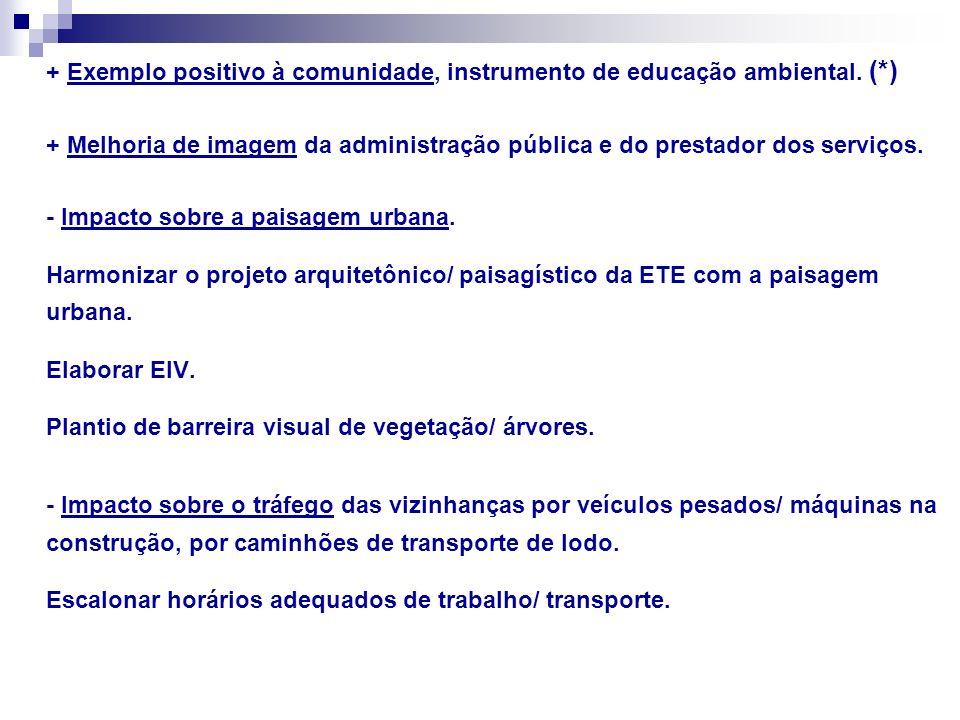 + Exemplo positivo à comunidade, instrumento de educação ambiental. (*) + Melhoria de imagem da administração pública e do prestador dos serviços. - I