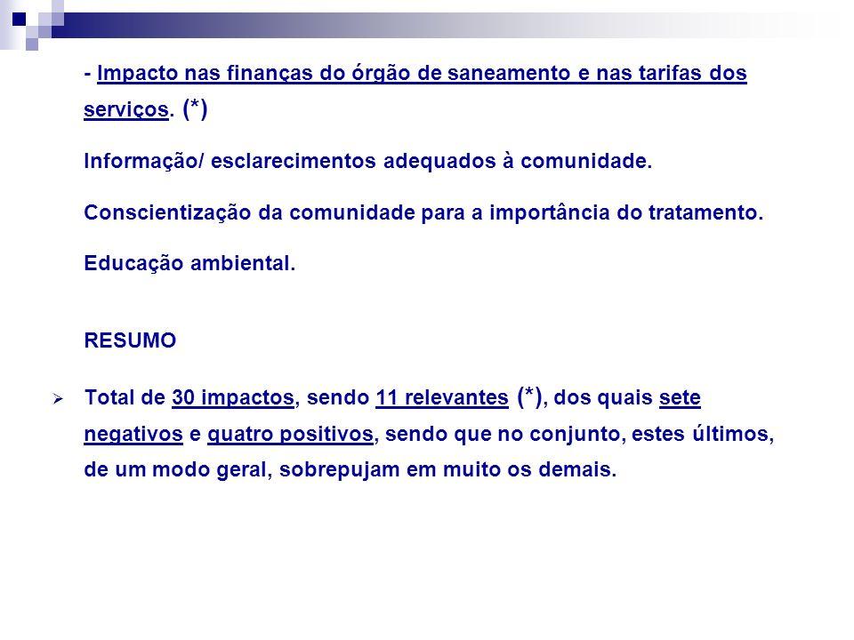 - Impacto nas finanças do órgão de saneamento e nas tarifas dos serviços. (*) Informação/ esclarecimentos adequados à comunidade. Conscientização da c