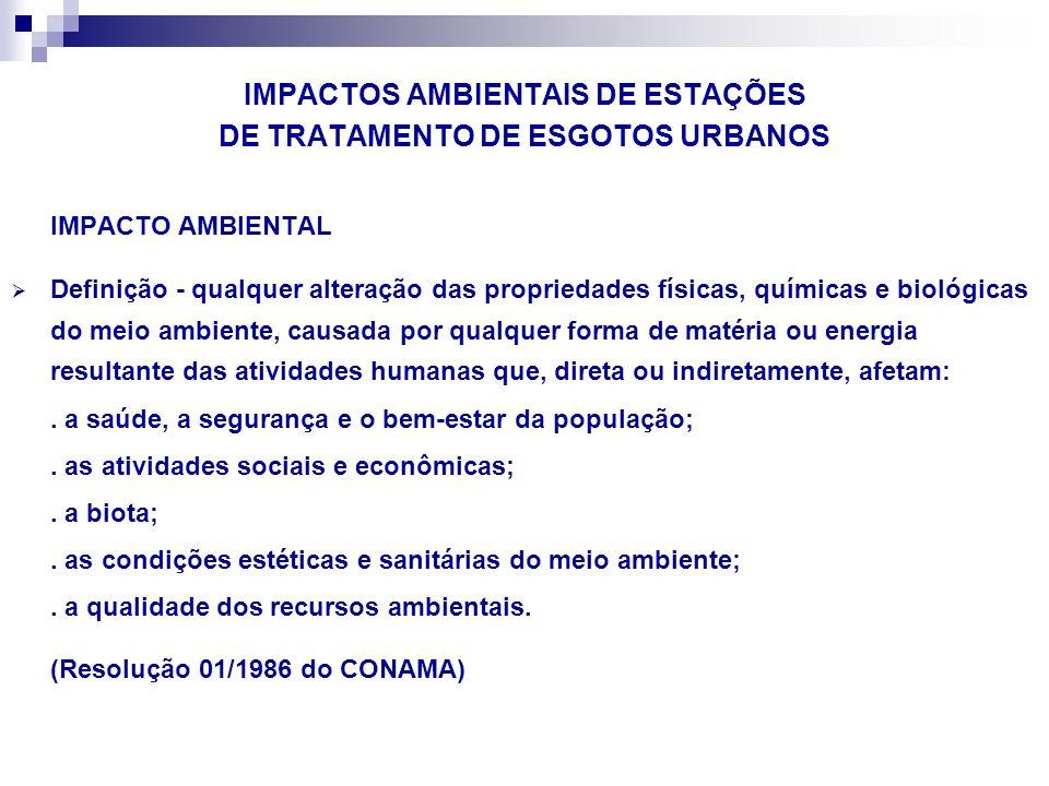 IMPACTOS AMBIENTAIS DE ESTAÇÕES DE TRATAMENTO DE ESGOTOS URBANOS IMPACTO AMBIENTAL Definição - qualquer alteração das propriedades físicas, químicas e