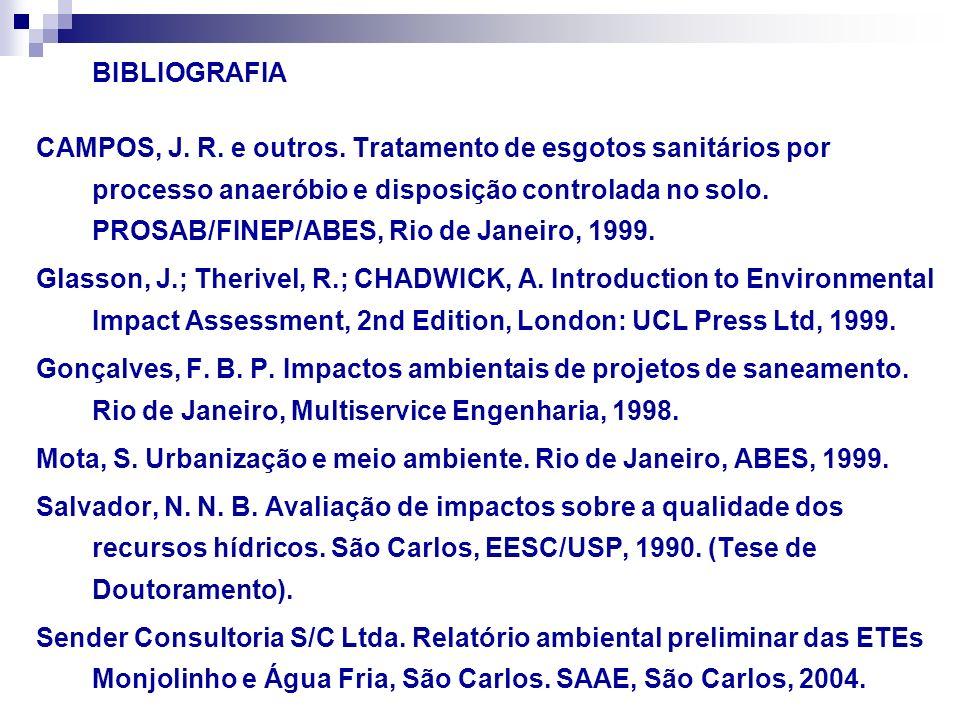 BIBLIOGRAFIA CAMPOS, J. R. e outros. Tratamento de esgotos sanitários por processo anaeróbio e disposição controlada no solo. PROSAB/FINEP/ABES, Rio d