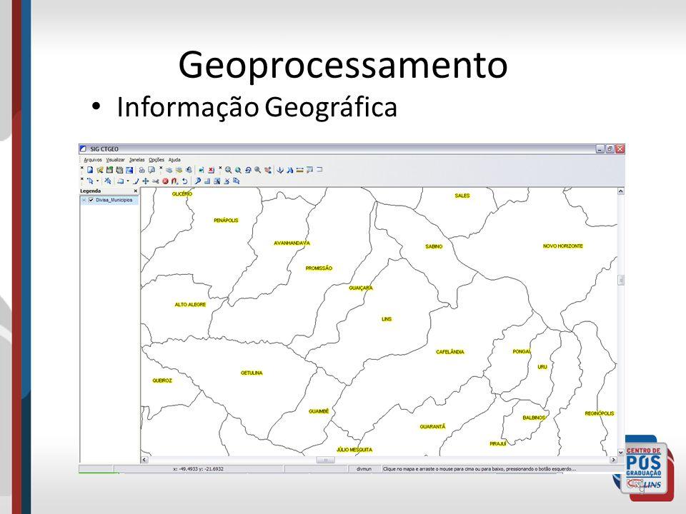 Geoprocessamento A informação geográfica sempre aprenseta duas características: – Localização : Coordenadas (x,y) em um espaço geográfico (onde) – Atributos : informações que descrevem um elemento geográfico 10