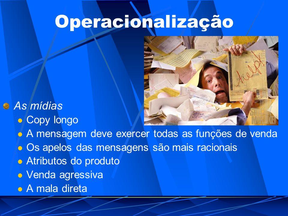 Operacionalização As mídias Copy longo A mensagem deve exercer todas as funções de venda Os apelos das mensagens são mais racionais Atributos do produ