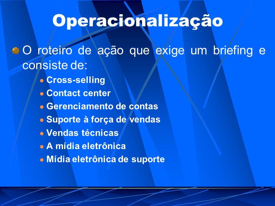 Operacionalização O roteiro de ação que exige um briefing e consiste de: Cross-selling Contact center Gerenciamento de contas Suporte à força de venda
