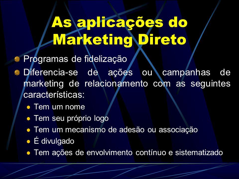 As aplicações do Marketing Direto Programas de fidelização Diferencia-se de ações ou campanhas de marketing de relacionamento com as seguintes caracte