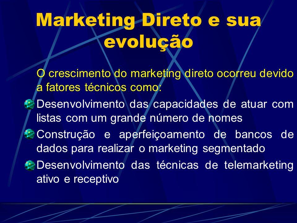 Marketing Direto e sua evolução O crescimento do marketing direto ocorreu devido a fatores técnicos como: Desenvolvimento das capacidades de atuar com