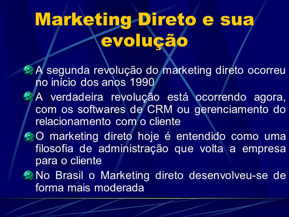 Marketing Direto e sua evolução A segunda revolução do marketing direto ocorreu no início dos anos 1990 A verdadeira revolução está ocorrendo agora, c