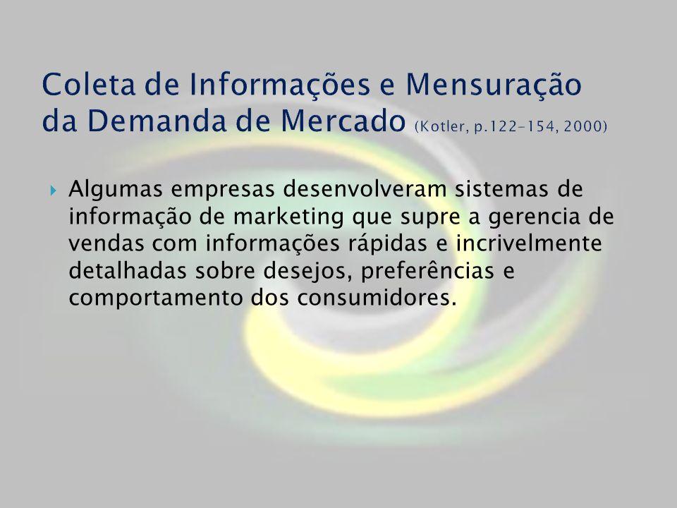 Algumas empresas desenvolveram sistemas de informação de marketing que supre a gerencia de vendas com informações rápidas e incrivelmente detalhadas s