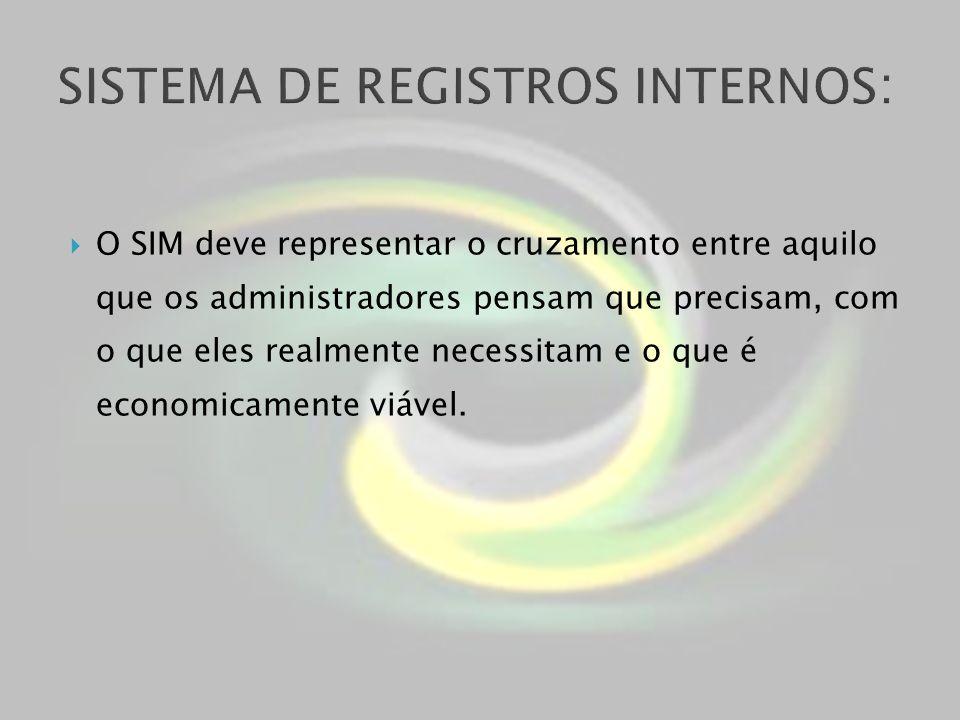 O SIM deve representar o cruzamento entre aquilo que os administradores pensam que precisam, com o que eles realmente necessitam e o que é economicame