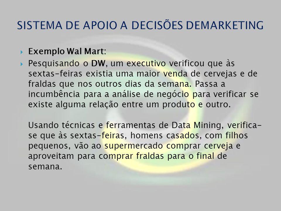 Exemplo Wal Mart: Pesquisando o DW, um executivo verificou que às sextas-feiras existia uma maior venda de cervejas e de fraldas que nos outros dias d