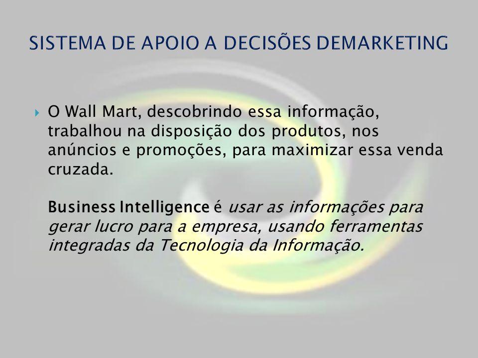 O Wall Mart, descobrindo essa informação, trabalhou na disposição dos produtos, nos anúncios e promoções, para maximizar essa venda cruzada. Business