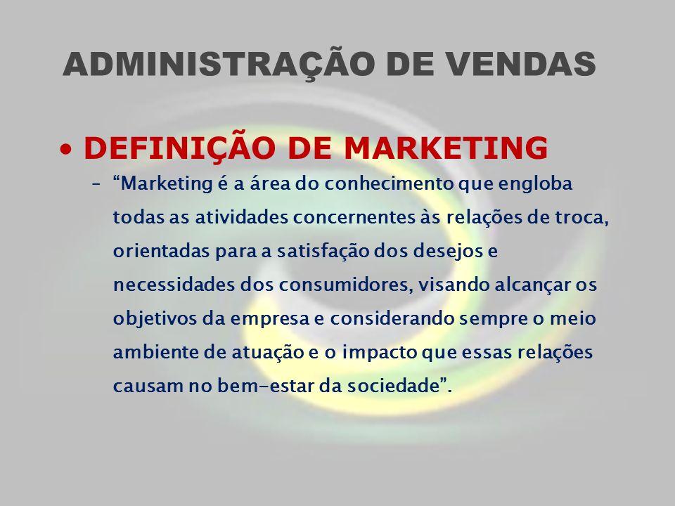 ADMINISTRAÇÃO DE VENDAS DEFINIÇÃO DE MARKETING –Marketing é a área do conhecimento que engloba todas as atividades concernentes às relações de troca,