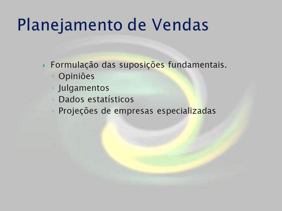 Formulação das suposições fundamentais. Opiniões Julgamentos Dados estatísticos Projeções de empresas especializadas