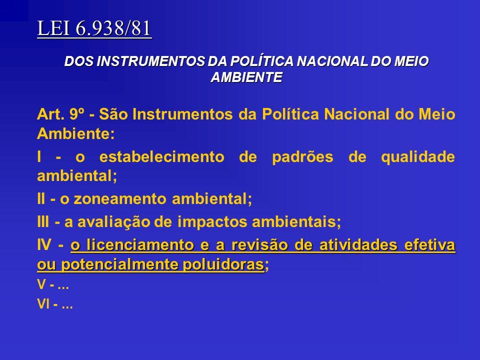 LEI 6.938/81 DOS INSTRUMENTOS DA POLÍTICA NACIONAL DO MEIO AMBIENTE Art. 9º - São Instrumentos da Política Nacional do Meio Ambiente: I - o estabeleci