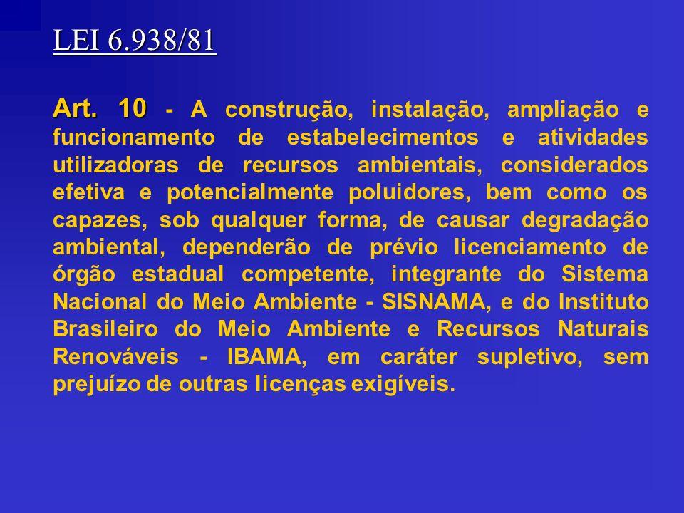 LEI 6.938/81 Art. 10 Art. 10 - A construção, instalação, ampliação e funcionamento de estabelecimentos e atividades utilizadoras de recursos ambientai
