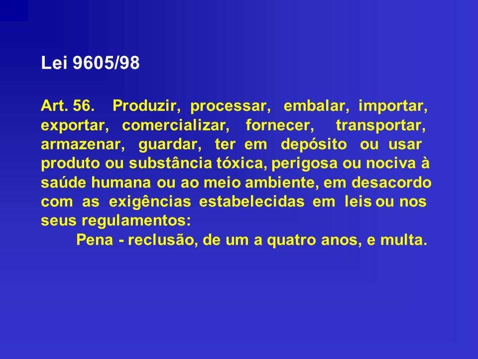 Lei 9605/98 Art. 56. Produzir, processar, embalar, importar, exportar, comercializar, fornecer, transportar, armazenar, guardar, ter em depósito ou us