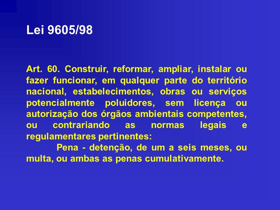 Lei 9605/98 Art. 60. Construir, reformar, ampliar, instalar ou fazer funcionar, em qualquer parte do território nacional, estabelecimentos, obras ou s