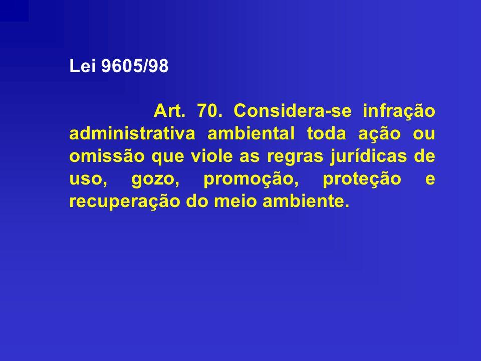 Lei 9605/98 Art. 70. Considera-se infração administrativa ambiental toda ação ou omissão que viole as regras jurídicas de uso, gozo, promoção, proteçã