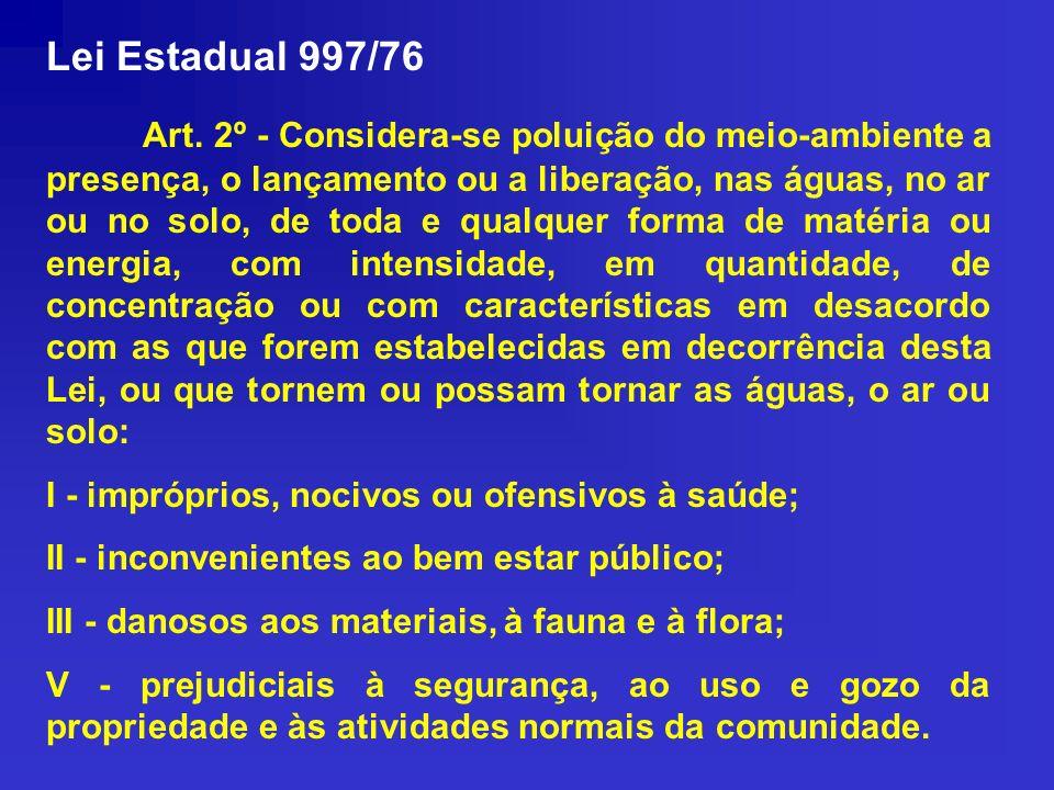 Lei Estadual 997/76 Art. 2º - Considera-se poluição do meio-ambiente a presença, o lançamento ou a liberação, nas águas, no ar ou no solo, de toda e q