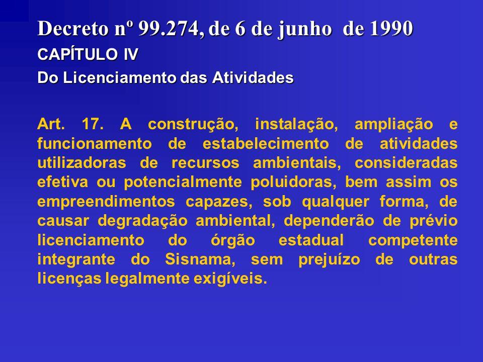 Decreto nº 99.274, de 6 de junho de 1990 CAPÍTULO IV Do Licenciamento das Atividades Art. 17. A construção, instalação, ampliação e funcionamento de e