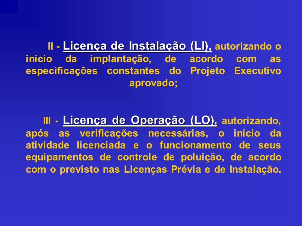 Licença de Instalação (LI Licença de Operação (LO), II - Licença de Instalação (LI), autorizando o início da implantação, de acordo com as especificaç