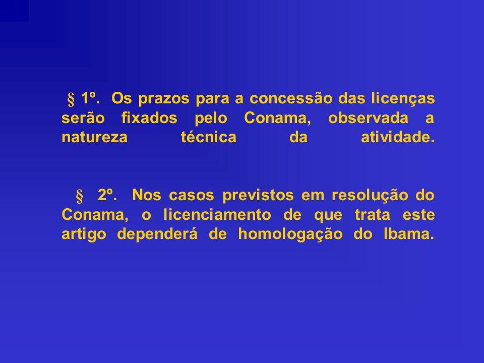§ 1º. Os prazos para a concessão das licenças serão fixados pelo Conama, observada a natureza técnica da atividade. § 2º. Nos casos previstos em resol