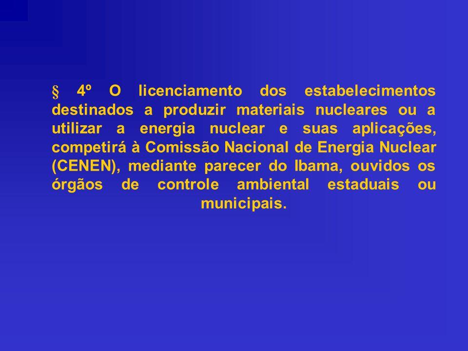 § 4º O licenciamento dos estabelecimentos destinados a produzir materiais nucleares ou a utilizar a energia nuclear e suas aplicações, competirá à Com