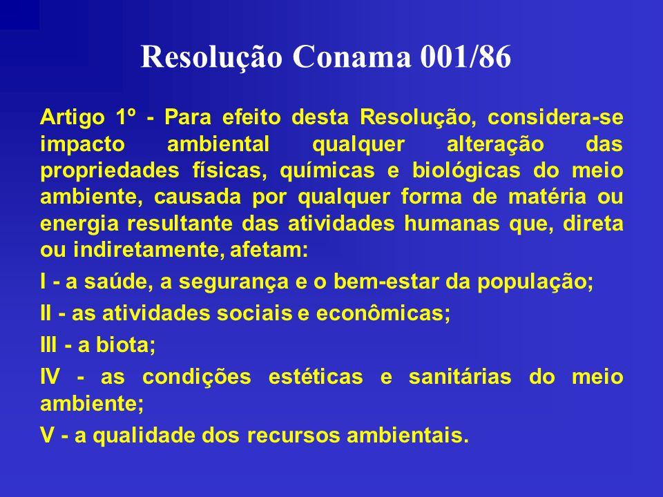 Resolução Conama 001/86 Artigo 1º - Para efeito desta Resolução, considera-se impacto ambiental qualquer alteração das propriedades físicas, químicas
