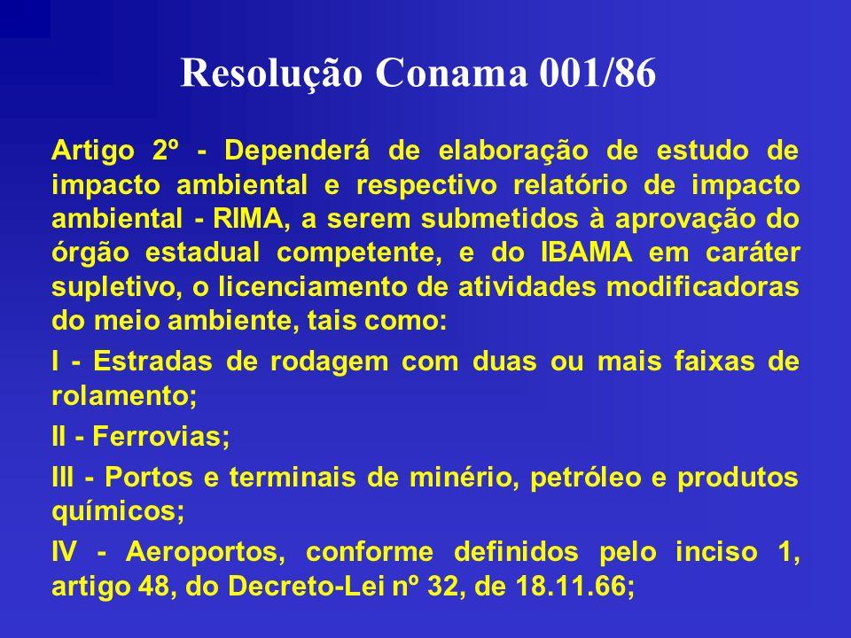Resolução Conama 001/86 Artigo 2º - Dependerá de elaboração de estudo de impacto ambiental e respectivo relatório de impacto ambiental - RIMA, a serem