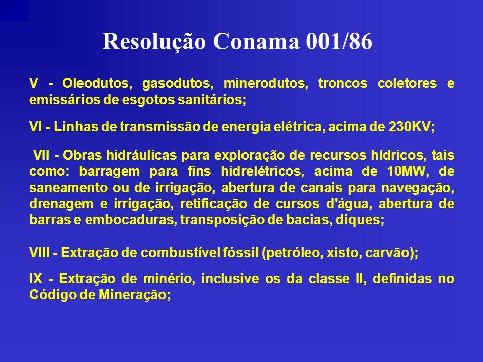 Resolução Conama 001/86 V - Oleodutos, gasodutos, minerodutos, troncos coletores e emissários de esgotos sanitários; VI - Linhas de transmissão de ene