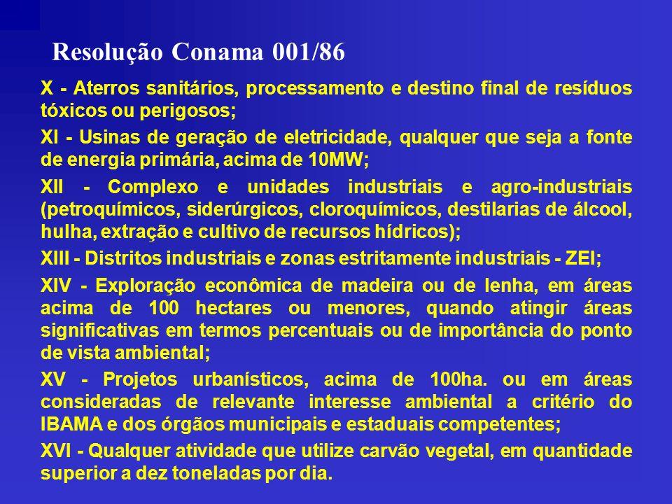 Resolução Conama 001/86 X - Aterros sanitários, processamento e destino final de resíduos tóxicos ou perigosos; Xl - Usinas de geração de eletricidade