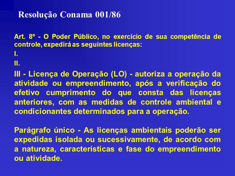 Resolução Conama 001/86 Art. 8º - O Poder Público, no exercício de sua competência de controle, expedirá as seguintes licenças: I. II. III - Licença d