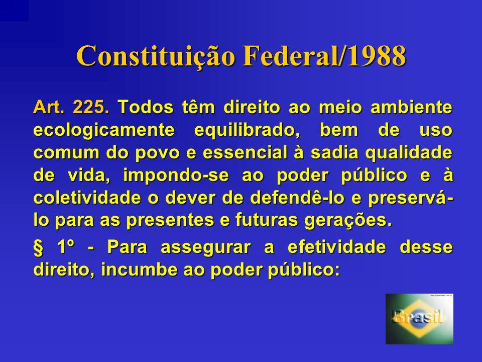 Constituição Federal/1988 Art. 225. Todos têm direito ao meio ambiente ecologicamente equilibrado, bem de uso comum do povo e essencial à sadia qualid
