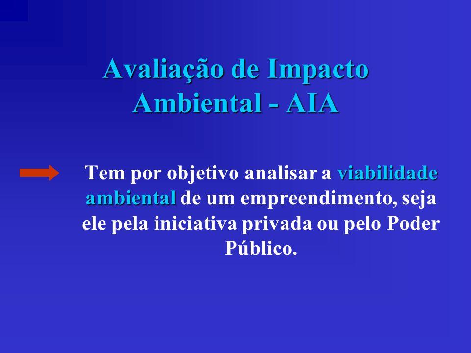 Avaliação de Impacto Ambiental - AIA viabilidade ambiental Tem por objetivo analisar a viabilidade ambiental de um empreendimento, seja ele pela inici
