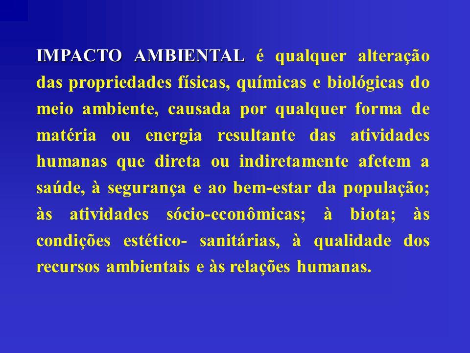 IMPACTO AMBIENTAL IMPACTO AMBIENTAL é qualquer alteração das propriedades físicas, químicas e biológicas do meio ambiente, causada por qualquer forma