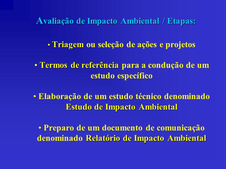 A valiação de Impacto Ambiental / Etapas: Triagem Triagem ou seleção de ações e projetos Termos de referência Termos de referência para a condução de