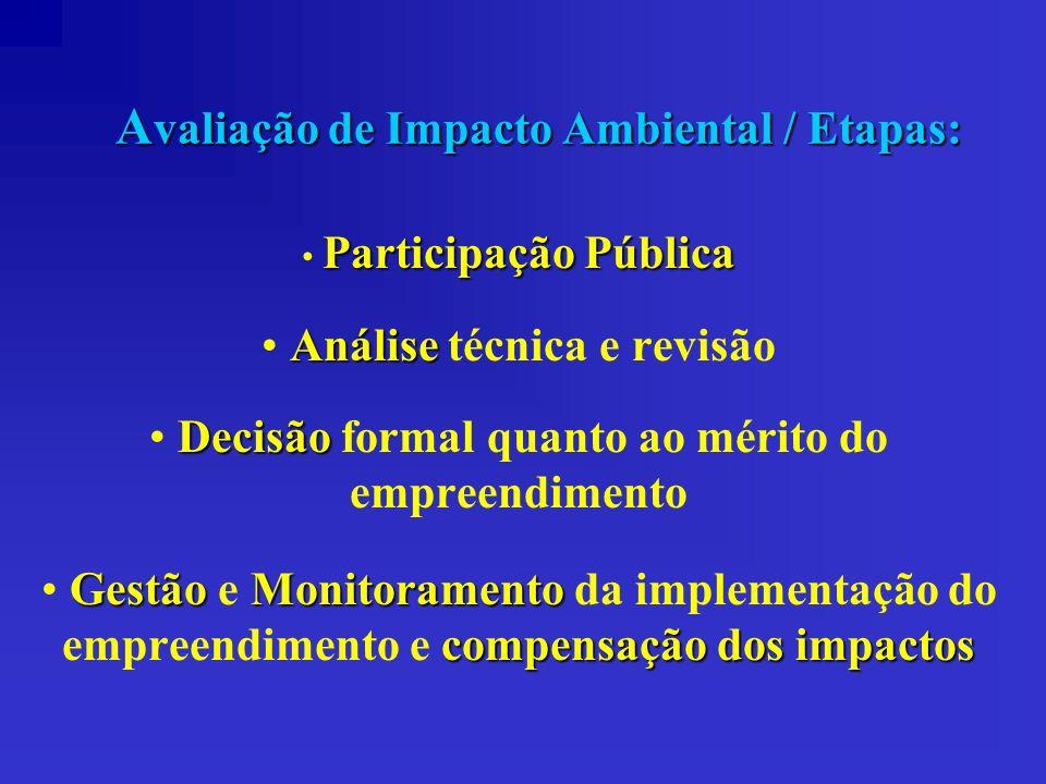 A valiação de Impacto Ambiental / Etapas: Participação Pública Análise Análise técnica e revisão Decisão Decisão formal quanto ao mérito do empreendim