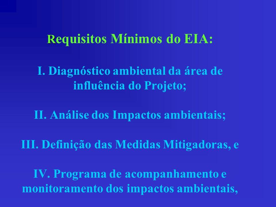 R R equisitos Mínimos do EIA: I. Diagnóstico ambiental da área de influência do Projeto; II. Análise dos Impactos ambientais; III. Definição das Medid