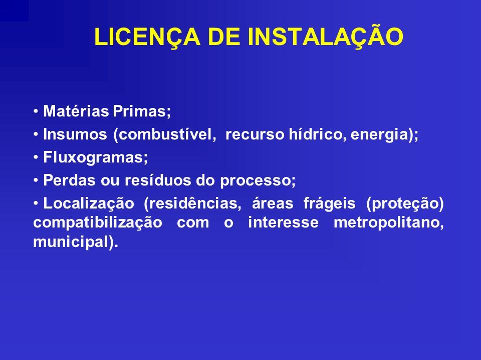 LICENÇA DE INSTALAÇÃO Matérias Primas; Insumos (combustível, recurso hídrico, energia); Fluxogramas; Perdas ou resíduos do processo; Localização (resi