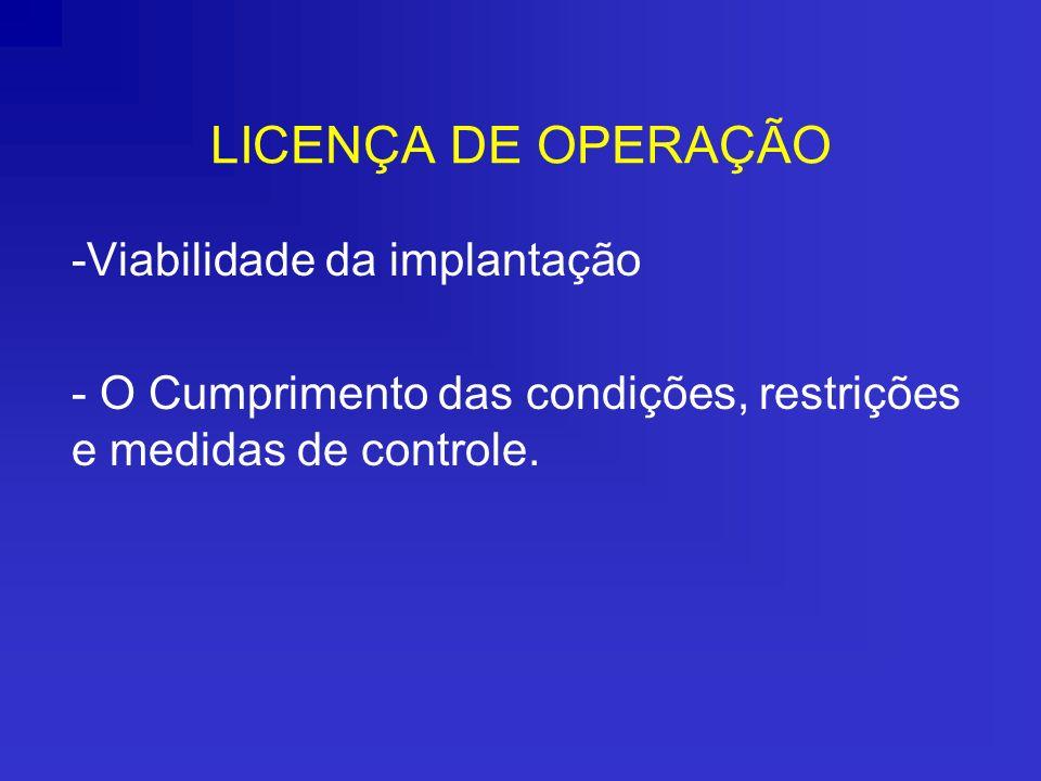 LICENÇA DE OPERAÇÃO -Viabilidade da implantação - O Cumprimento das condições, restrições e medidas de controle.