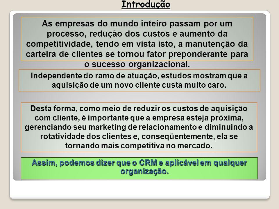 Assim, podemos dizer que o CRM e aplicável em qualquer organização. As empresas do mundo inteiro passam por um processo, redução dos custos e aumento