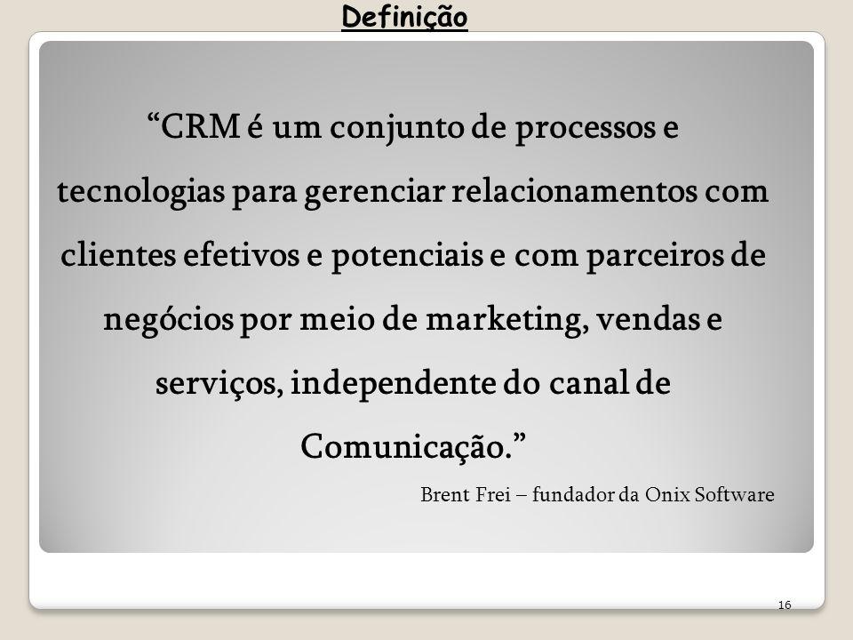 16 CRM é um conjunto de processos e tecnologias para gerenciar relacionamentos com clientes efetivos e potenciais e com parceiros de negócios por meio