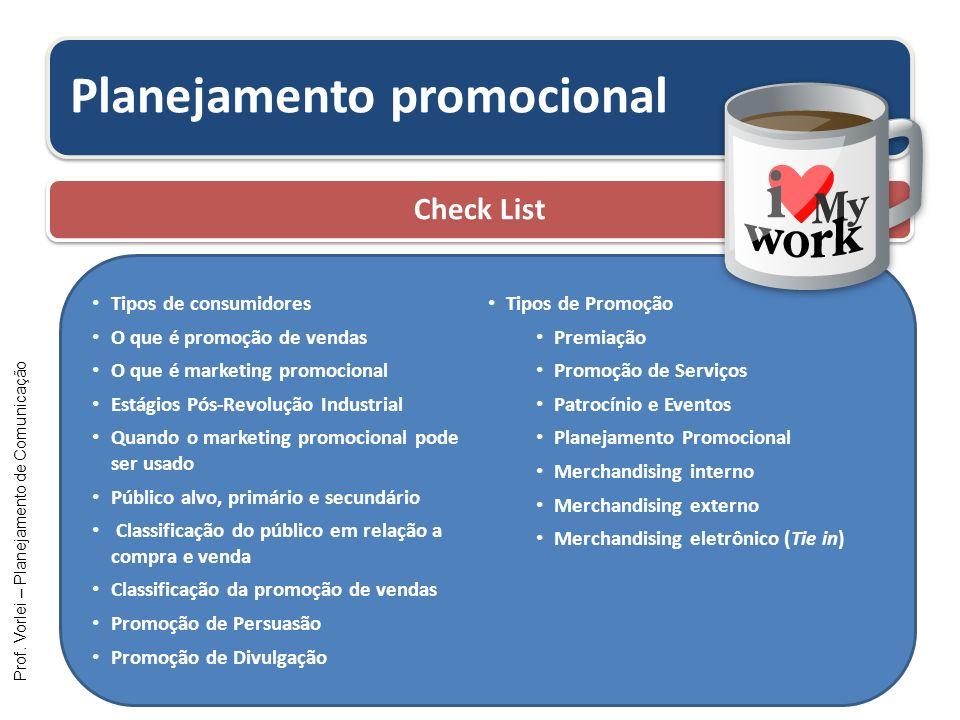 Prof. Vorlei – Planejamento de Comunicação Planejamento promocional Check List Tipos de consumidores O que é promoção de vendas O que é marketing prom